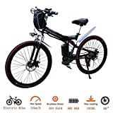 CLIENSY 26 Inch Folding Electric Bike Shimano 21 Speed E-Bike with Removable 36V 8AH Large Capacity Lithium Battery and 350W Powerful Motor (Red)