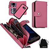 DRUnKQUEEn S7 Case, Zipper Wallet Type Flip Folio Case Premium Leather Credit Card Holder Feature - Detachable Magnetic Back Cover with Lanyard Wrist Hand Strap for G930 Samsung Galaxy S7 - Pink