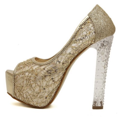 AmoonyFashion Womens Peep Toe High Heel Blend Materials Solid Sandals with Sequin Gold JmQBpO