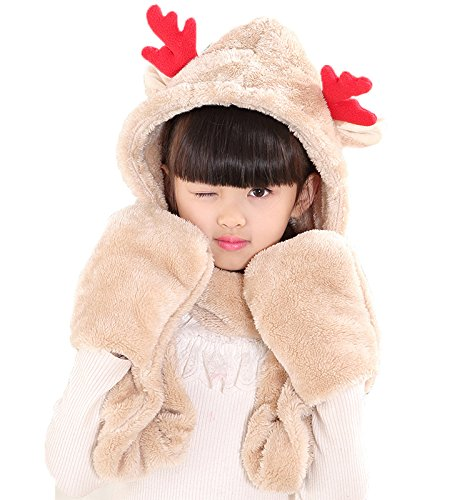 Pulama Novelty Animal Hat Cosplay Cap - Unisex Fit Adult & Children- Soft Warm Headwraps Headwear with Mittens (Winter Hat (Huskies One Fit Cap)
