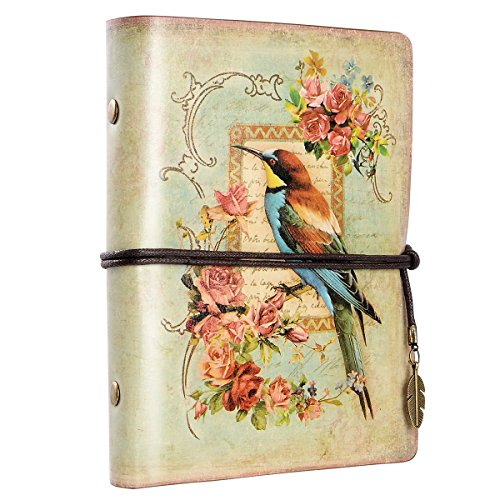 Leather Bound Journal Vintage Leather Notebook Antique Writing Journal Handmade Leather Bound Notebook, Best Gift for Art Sketchbook, Travel Diary & Notebooks to Write in (Bird)