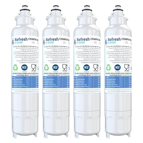 Price comparison product image Refresh Replacement for LG LT800P,  ADQ73613401 and Kenmore Elite 46-9490,  9490,  469490,  ADQ73613402 Refrigerator Water Filter (4 Pack)