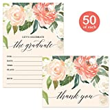 Graduation Party Invitations & Thank You Cards Matching Set with Envelopes ( 50 of Each ) Female Floral Design High School College Grad Fill-in Guest Invites & Folded Thank You Notes Great Value Pair