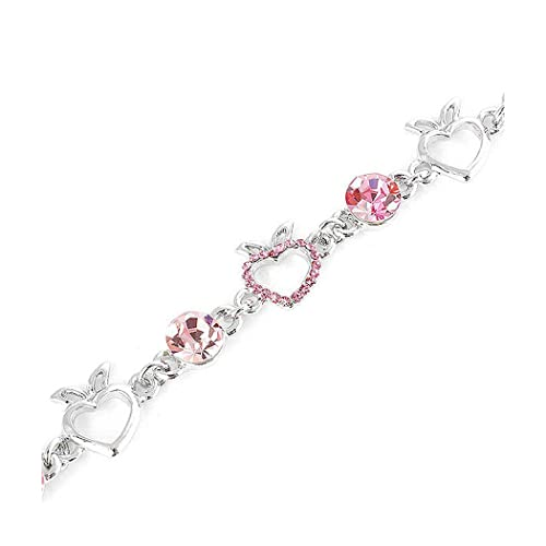 Glamorousky Heart Shape Apple Bracelet with Pink CZ and Austrian Element Crystals 1572