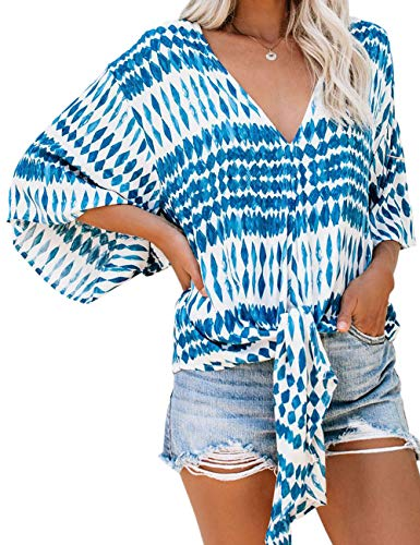 - CICIDES Womens Stripes Blouses Tie Front V Neck 3 4 Batwing Sleeve Plus Size Casual Fashion 2019 Plain Summer Loose Fit Tops and Tunics Shirts Blue US16-18 X-Large