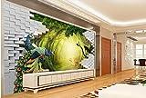 LWCX Luxury Wallpaper Custom 3D Mural Wallpaper Secret Garden Peacock Deer Tv Backdrop Wall Murals For Living Room 250X175CM