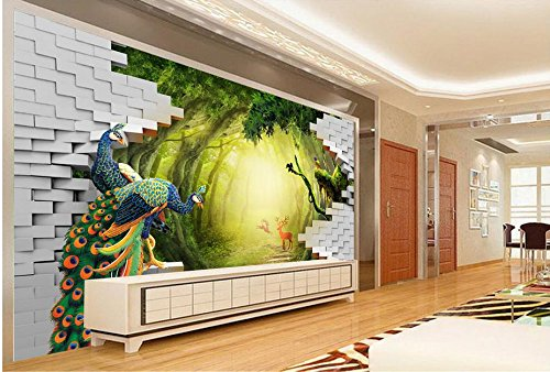 LWCX Luxury Wallpaper Custom 3D Mural Wallpaper Secret Garden Peacock Deer Tv Backdrop Wall Murals For Living Room 250X175CM by LWCX (Image #5)
