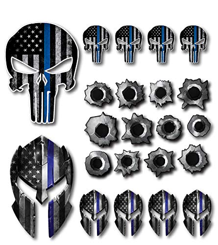 Variety Pack of 22 Thin Blue Line Spartan Helmet Punisher Skull Bullet Holes Molon Labe Decal Sticker Molon Labe Sniper USA Flag (22 Pack) (Skull Right Decal)