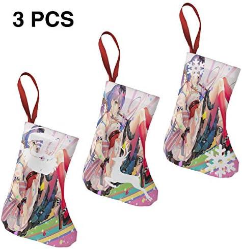 クリスマスの日の靴下 (ソックス3個)クリスマスデコレーションソックス ガールフロント クリスマス、ハロウィン 家庭用、ショッピングモール用、お祝いの雰囲気を加える 人気を高める、販売、プロモーション、年次式