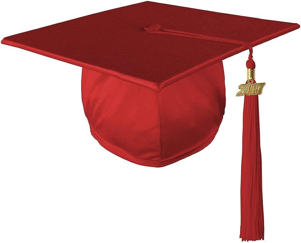 Class Act Graduation Graduation Shiny Mortar Board Cap and Matching 2017 Tassel