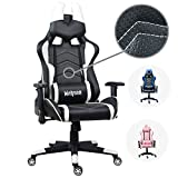Gaming Chair, Wahson Breathable Leather Racing Chair Ergonomic Office Chair Adjustable Computer Desk Chair with Lumbar Support and Headrest Black and White For Sale