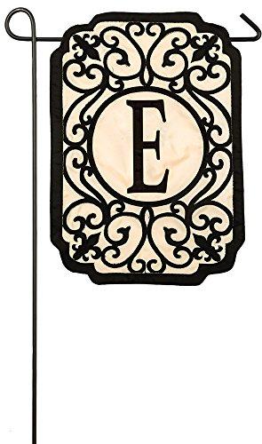 Evergreen Filigree Monogram E Applique Garden Flag, 12.5 x 18 inches Filigree Garden