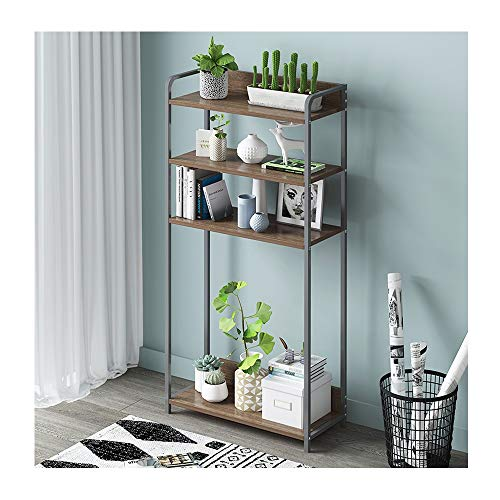 Huayuan Flower Stand Simple Bookcase Simple Modern Floor Rack Assembly Small Bookcase Creative Home Storage Storage Shelf Flower Stand 43X120X24cm (Color : Wild Oak+Black Frame)