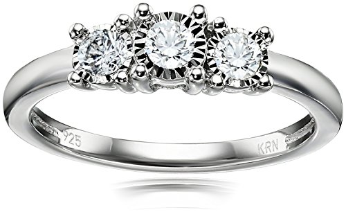 Sterling Silver 3-Stone Diamond Engagement Ring (1/4 cttw, I-J Color, I2-I3 Clarity), Size 7