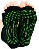 Mato & Hash Toeless Half Toe Yoga Socks With Grip Black/Bright Green S/M For Sale