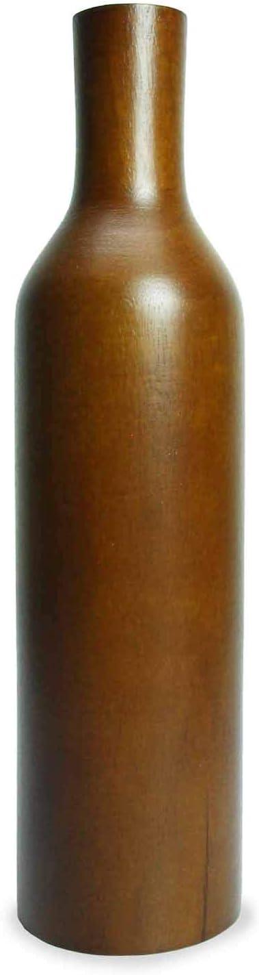 roro Handcarved Natural Wine Bottle Wood Vase, 12 Inch