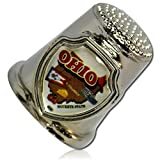 Custom & Collectable {25mm Hgt.x 25mm Dia} 1 Single, XL-Size Sewing Thimble Made of Fine-Grade Metal w/ Ohio ''The Buckeye State'' Map Print Flag Cheese Tomatoes Cardinal [Silver, White, Brown, & Red]