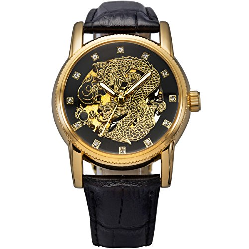 - ManChDa Mens Dragon (Dignified Looking) Automatic Mechanical Black Leather Crystal Golden Watch Gift Box