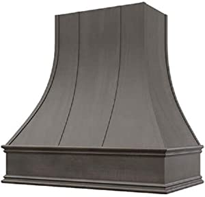 """Wholesale Wood Hoods Curved with Strappings Style Hood Wooden Chimney Range Wall Mounted for Kitchen with 22"""" Depth - 36""""W × 48""""H - Black"""