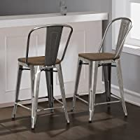 Tabouret Bistro Wood Seat Gunmetal Finish Counter Stools (Set of 2) 24 inches High