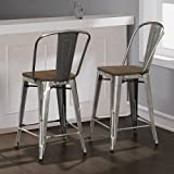 Tabouret Bistro Wood Seat Gunmetal Finish Counter Stools (Set of 2) 24 inches High For Sale