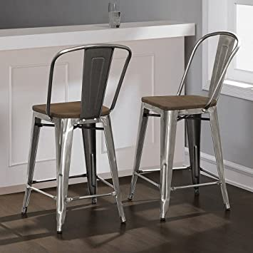 Tabouret Bistro Wood Seat Gunmetal Finish Counter Stools Set of 2 24 inches High