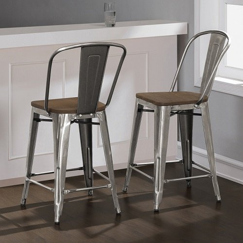 Tabouret Bistro Wood Seat Gunmetal Finish Counter Stools (Set of 2) 24 inches High (Stools Wood Breakfast)