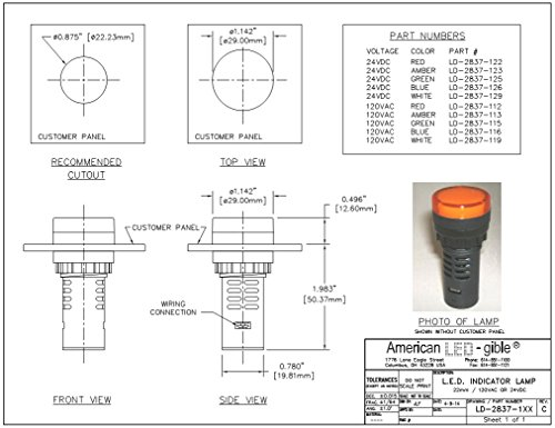 American LED-gible LD-2837-112 LED 22mm Indicator Light, 120V Red by LEDAndon (Image #1)