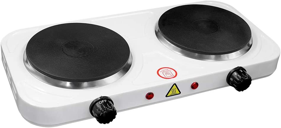 2000W Electric Hot Plate,Mini Double Burner Countertop Cooker Compatible for All Cookwares Cooking with 5 Power Adjustment,Easy to Clean,Portable for Kitchen Camping RV Hotel 110V