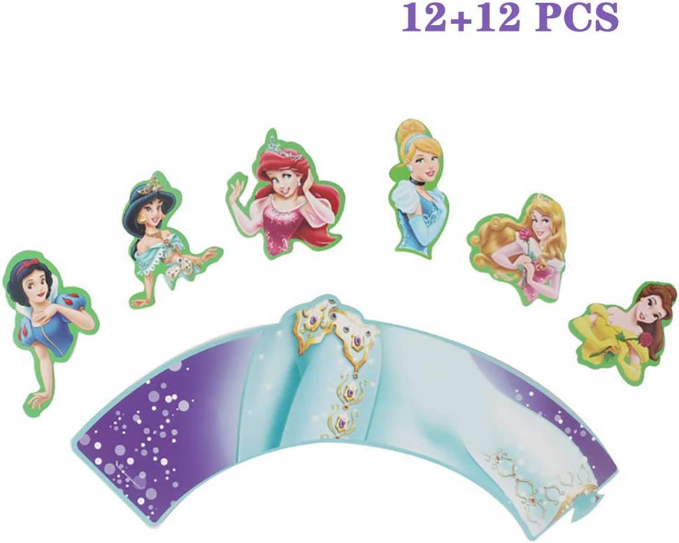 Teens Theme Party Supplies Cupcake Decoration Princess Cupcake Toppers and Wrappers Birthday Party Decoration Cake Toppers for Baby Shower Girls 12PCS 12PCS