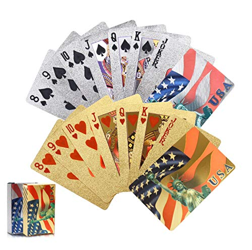 Joyoldelf 2 Decks of 24k Playing Cards, Waterproof Poker with National Flag Pattern in Gift Box for Party & Magic,1 Gold + 1 Silver
