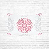 WUTMVING Tapestry Pink Grey Doily Pattern Tile Hippie Tapestries Wall Hanging Flower Tapestry Wall Hanging Dorm Decor For Living Room Bedroom 60 X 40 Inch