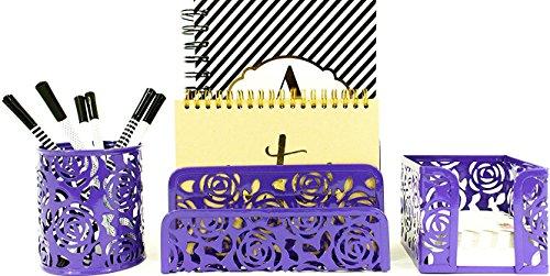 Blu Monaco Purple Desk Organizer for Women - 3 Piece Desk Accessories Set - Letter-Mail Organizer, Sticky Note Holder, Pen Cup - Purple Rose ()