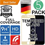 iPhone 7 PLUS & 8 PLUS [5.5] 5Pack [FULL COVERAGE CURVED] HD [Tempered Glass] Screen Protector [Bubble Free] Shatter [9H+] Ballistic [3D TOUCH] Anti Shock [Oleophobic coating] Drop Resistant Gold