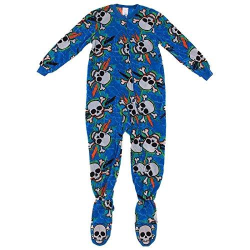 Komar Kids Little Boys' Blue Skulls Footed Pajamas S/6-7