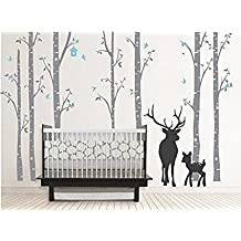 Large Birch Tree Wall Decals with Deer Nursery Tree Wall Decal for Kids Rooms Wall Deco