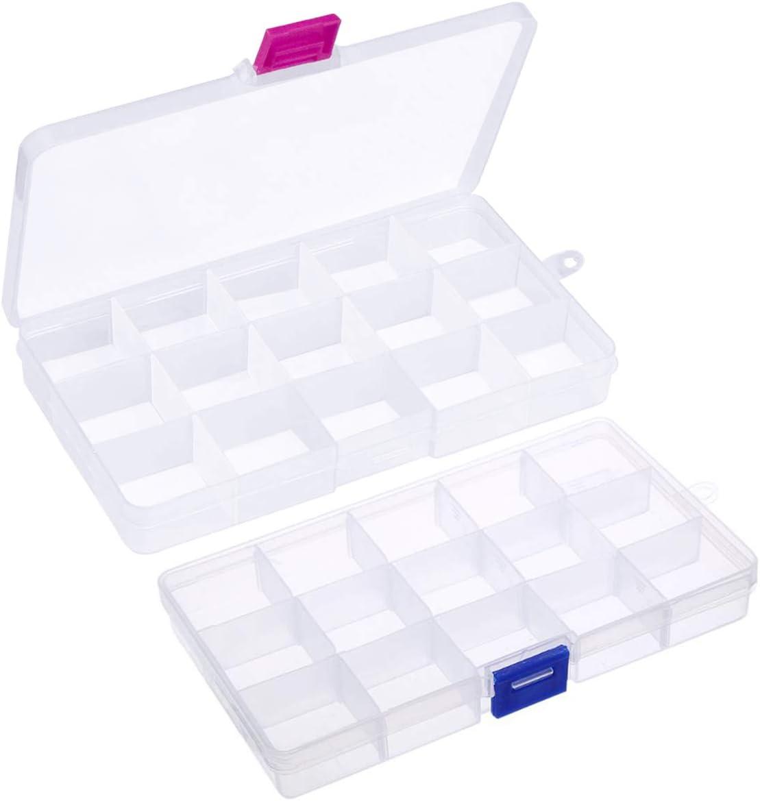 Fodlon Caja Almacenaje Plastico Transparente 2piezas Caja Organizadora Compartimentos Organizador de Pendientes Pequeños Cajas Clasificadoras Cajas con Separadores para Costura Accesorios Tornillos: Amazon.es: Hogar