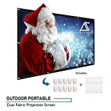 Akia Screens 120 inch Projector Screen 16:9 Foldable Anti-Crease Portable Screen Support Double Sided Projection for Outdoor Indoor 120' Home Movie Theater or Christmas Window Decor, AK-DIYOUTDOOR120H