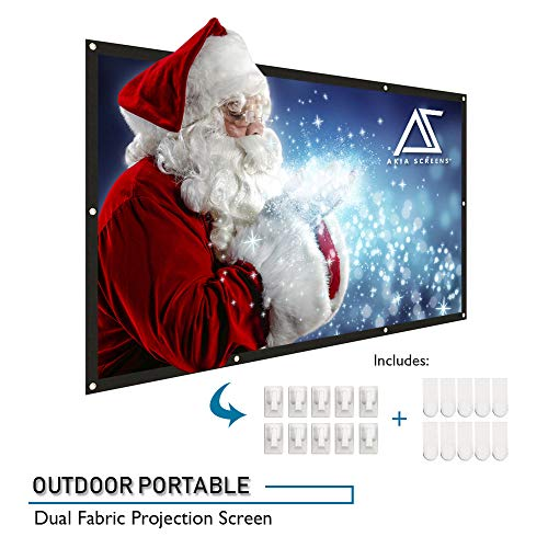 Akia Screens 120 inch Projector Screen 16:9 Foldable Anti-Crease Portable Screen Support Double Sided Projection for Outdoor Indoor 120 Home Movie Theater or Christmas Window Decor, AK-DIYOUTDOOR120H