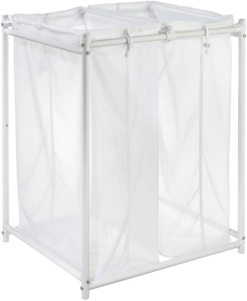 blanco Bolsa para la colada de tejido de malla transpirable Mueble de ba/ño de metal para guardar ropa sucia y ahorrar espacio mDesign Cesto para ropa sucia para ba/ño o lavadero