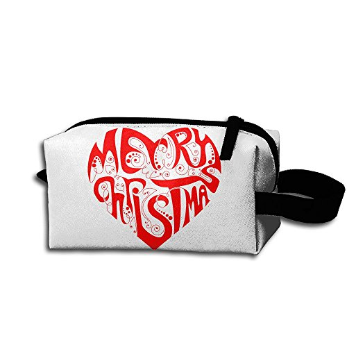 Makeup Cosmetic Bag Merry Christmas Heart Stock Vector Medicine Bag Zip Travel Portable Storage Pouch For Mens Womens -