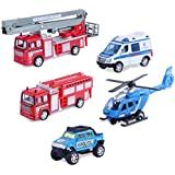 Set of 5 Rescue Diecast Police Firetruck Pullback Vehicles Playset (1:64 Scale)