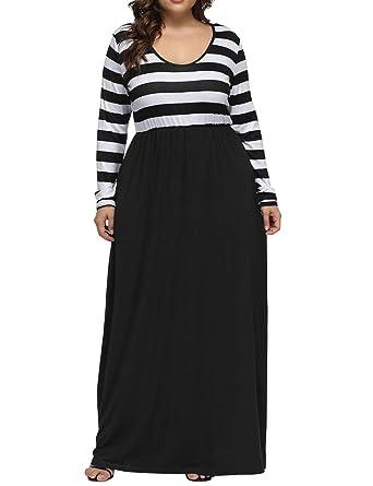 1687ede57c4 Allegrace Women's Plus Size Striped Patchwork Long Sleeve Maxi Dress Casual  Round Neck Long Dresses Black