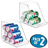mDesign Large Standing Pop/Soda Can Dispenser Storage Organizer Bin for Kitchen Pantry, Countertops, Cabinets, Refrigerator - Compact Vertical Holder - BPA Free, Food Safe Plastic, Pack of 2, Clear