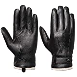 Men's Genuine Leather Gloves Winter - Acdyion Touchscreen Texting 100% Cashmere Lined Warm Dress Driving Gloves (Black,...