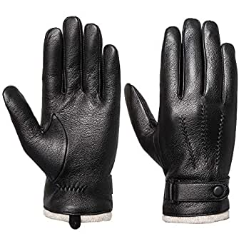 Mens Genuine Leather Gloves Winter - Acdyion Touchscreen