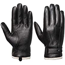 Mens Genuine Leather Gloves Winter - Acdyion Touchscreen Cashmere Lined Warm Dress Driving Gloves