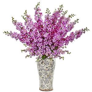 "Nearly Natural 1880-LV 38"" Delphinium Artificial Decorative Vase Silk Arrangements Lavender 8"