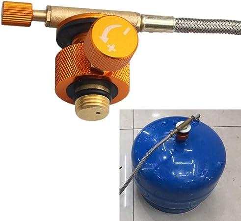 Leezo Adaptador de quemador de estufa de camping conversión tipo dividido conector de horno cartucho tanque de gas adaptador de llenado de gas ...