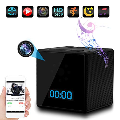 Spy camera, 1080P Full hd hidden clock camera, Bluetooth speaker hidden camera, with Bluetooth music / night vision / motion detection / loop recording / remote view, support ios / android / ipad / PC